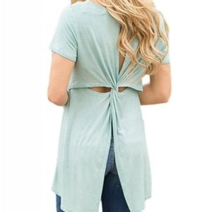 Twist Cutout Back Casual Womens T-shirt